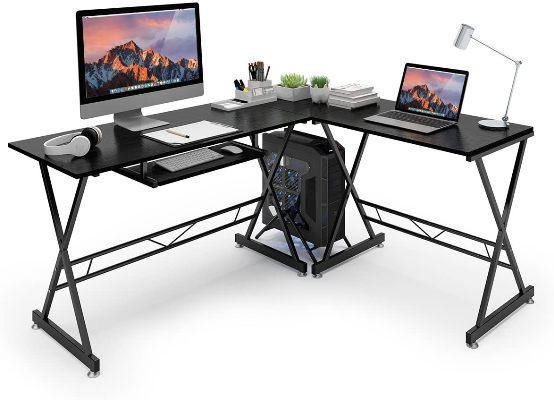 Azmkoo L-Shaped Corner Desk with keyboard tray