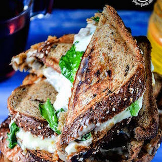 Grilled Cheese Spiced Potato Whole Grain Sandwich with Cheese Dip.