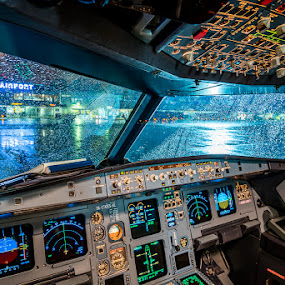 Cockpit A320 by Alan Grubelić - Transportation Airplanes ( airport, mzlz, cockpit, a320, airplane, croatia airlines, zagreb, airbus )