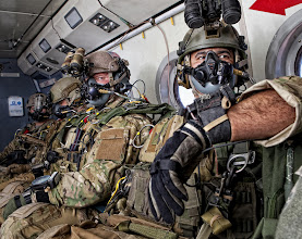 Photo: Soldiers attending the Advanced Tactical Infiltration Course at the Military Freefall School prepare to conduct a high-altitude, high-opening airborne operation March 9 over Yuma, Ariz. (Courtesy photo)
