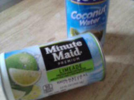 Coconut water very healthy for you.I use concentrated limeade to make my limeade, has...