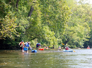 Photo: Several people had to get out & carry their boats through the shallow waters... Nicole, Dusty, & Doug.  Eric & others still paddling.