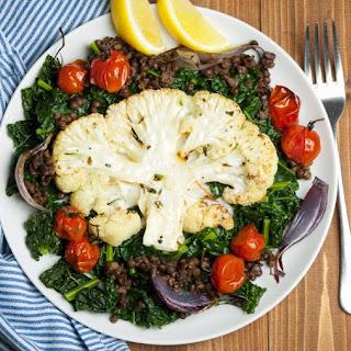 Vegan Roast Cauliflower Steaks with Kale & Lentils