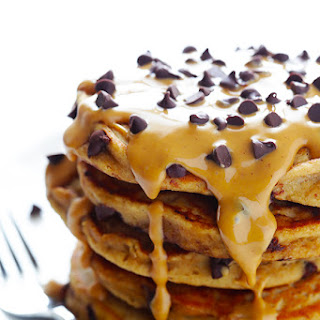 Whole Wheat Peanut Butter Chocolate Chip Pancakes