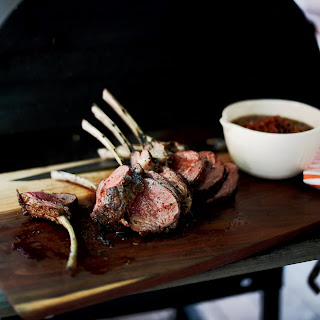 Slow-Grilled Rack of Lamb with Mustard and Herbs.