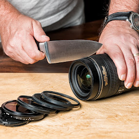 by Walter Farnham - Artistic Objects Other Objects ( cutting board, lens, knife )