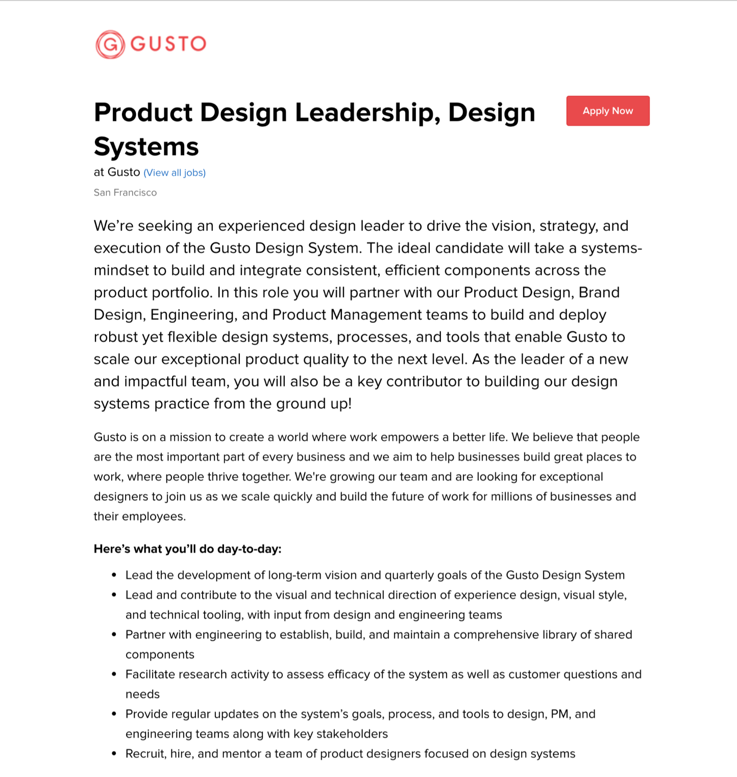 An example of a design systems-focused product design role.