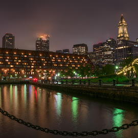 Boston Mass Christopher Columbus park by Paul Gibson - City,  Street & Park  Skylines ( hdr, night photography, boston, long exposure, nightscapes )