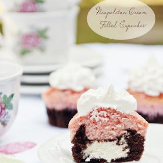 Neapolitan Cream Filled Cupcakes
