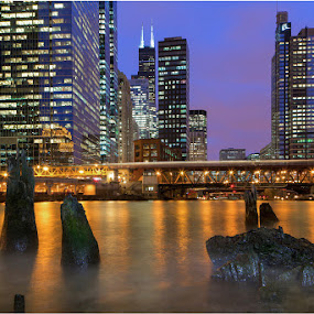 Chilly Chicago River Blue Hour by Jamie Link - City,  Street & Park  Skylines ( skyline, grant, wheel, framed, link, lakes, jamie, cityscape, landscape, photography, sun, chicago commercial photographers, capture, photographer, buildings, pier, weather, pink, chicago, prints, clouds, cook, geo, jamie link photography, purple, gallery, green, national, art, boats, midwest, lake, photo, concrete, picture, michigan, great, blue, cities, sunset, sunrise, navy, willits, odessy, commercial outdoor photographer )