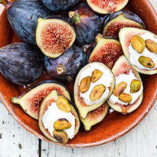 Fresh Figs with Lemon-Vanilla Ricotta and Toasted Pistachios.