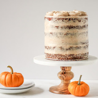 Pumpkin Carrot Cake with Cinnamon Cream Cheese Frosting.