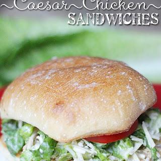 Easy Crock Pot Chicken Caesar Sandwich on Ciabatta.