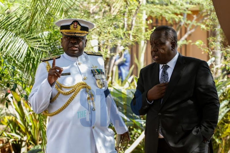 Chief of Defence Forces Samson Mwathether and Interior CS Fred Matiang'i.
