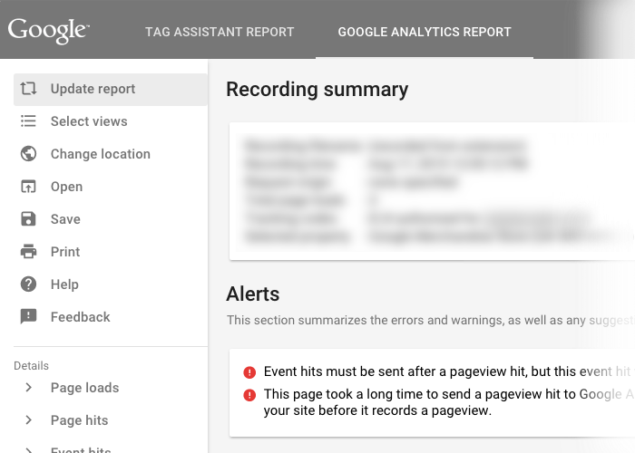 Google Tag Assistant Recordings summary page