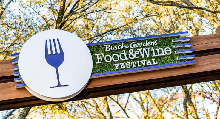 Busch Gardens Food and Wine Festival sign