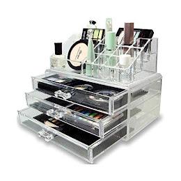Organizator cosmetice si bijuterii, 16 compartimente si 3 sertare