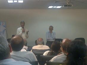 Photo: Dr Anil Kakodkar and Mr Vivek Sawant addressing the gathering