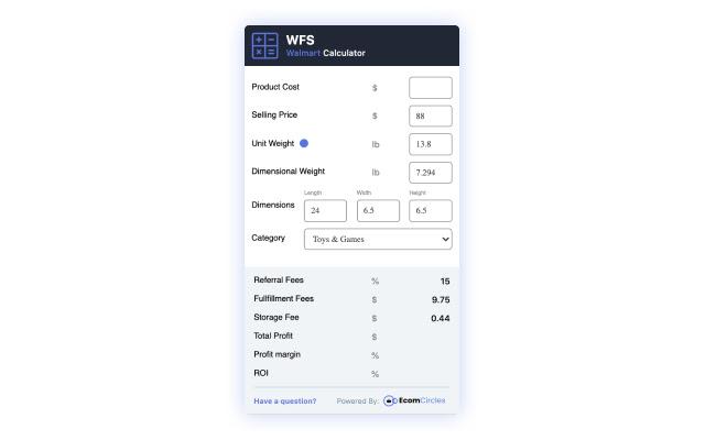 Walmart WFS Profit Calculator