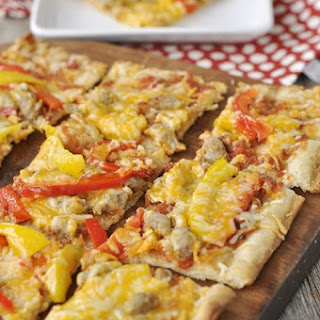 Grilled Flatbread with Chorizo & Peppers.