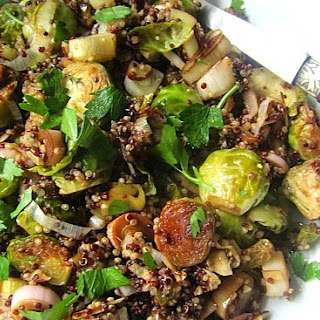 BEST Quinoa Recipe w/ Roasted Brussels Sprouts, Leeks & Almonds