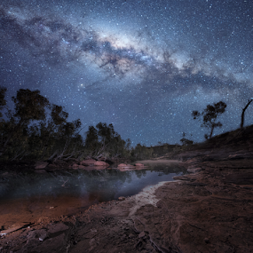 To The Stars by Greg Tennant - Landscapes Starscapes ( stars, creek, galaxy, milky way,  )