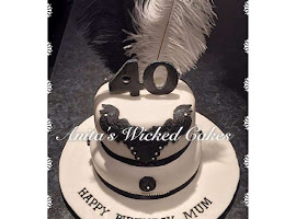 40th black & white feather cake