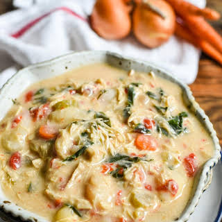 Crock Pot Chicken Gnocchi Soup with Roasted Red Peppers.