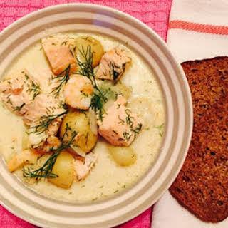 Creamy Salmon And Prawn Soup.