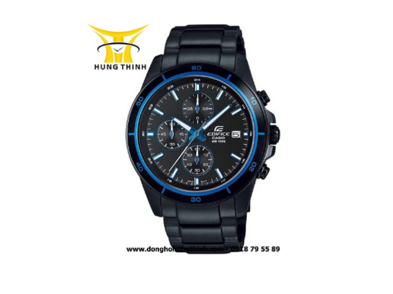 Đồng hồ Casio dây kim loại nam với thiết kế độc đáo bởi dây kim loại đen đẳng cấp kết hợp cùng với nền mặt đồng hồ viền xanh