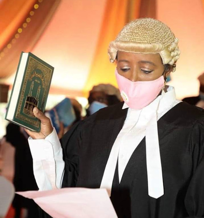 Sports CS Amina Mohamed when she was admitted to the bar on July 3, 2020.