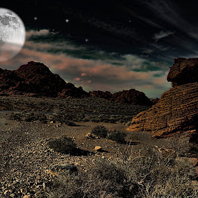 Valley of Fire Night Scape by Merna Nobile - Digital Art Places ( valley of fire )