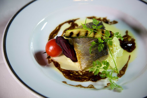 Seadream-fish-starter.jpg - SeaDream Yacht Club cruises feature fine dining, including fish appetizers.