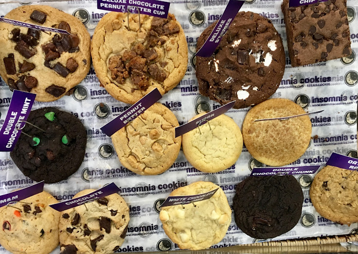 The assortment at Insomnia Cookies.
