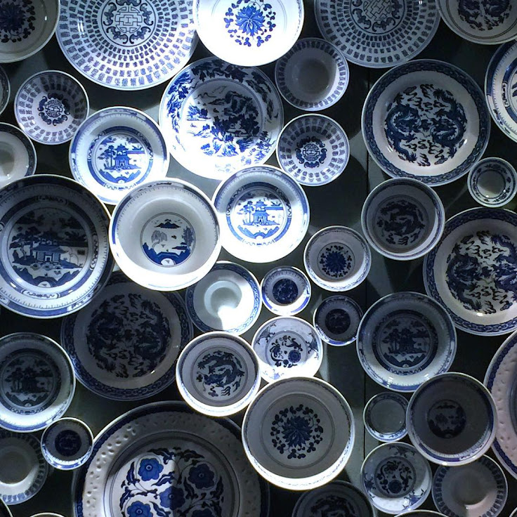 Blue and white porcelain at Upper Lascar Row.
