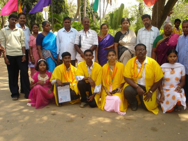 Gayathri with classmates and family