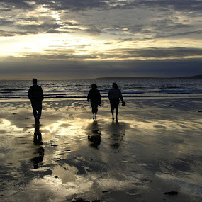 Balleybunion Beach by Sandra Millsap - Landscapes Beaches ( balleybunion, reflection, sky, brush strokes, ireland, silhouette, sunset, beach, painting )