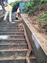 Photo: Erosion-control work by San Francisco Department of Public Works employees is officially underway as of Friday, September 13, 2013 on the final area of Hidden Garden Steps site (16th Avenue, between Kirkham and Lawton streets in San Francisco's Inner Sunset District) in need of attention before the Hidden Garden Steps 148-step ceramic-tile mosaic designed and created by artists Aileen Barr and Colette Crutcher is installed. For more information about this volunteer-driven community-based project supported by the San Francisco Parks Alliance, the San Francisco Department of Public Works Street Parks Program, and hundreds of individual donors, please visit our website at http://hiddengardensteps.org.