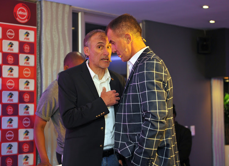 Orlando Pirates coach Milutin Sredojevic chats to his Kaizer Chiefs counterpart Giovanni Solinas ahead of the Soweto derby.