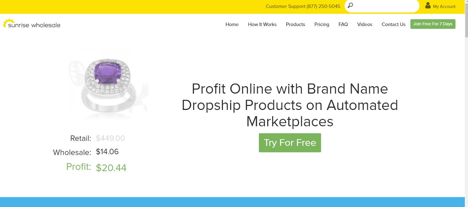 sunrise wholesale dropshipping website