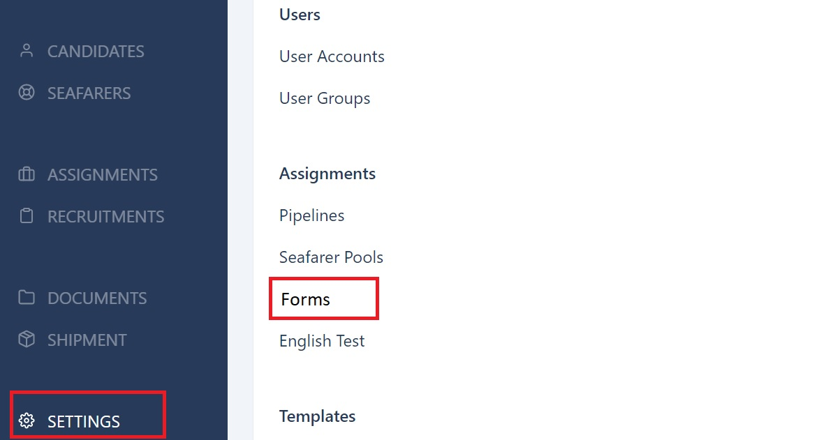 screenshot showing where to find settings and forms.