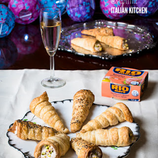 Puff Pastry Cannoli Appetizers Filled With Tuna Mousse.