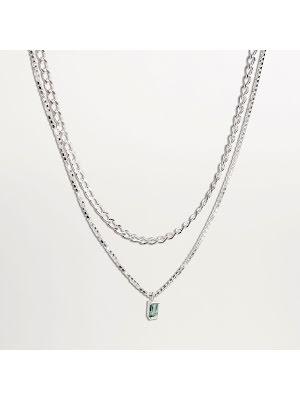 Cornelia Webb, halsband med grön kvarts och dubbelkedja