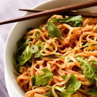 Simple Sesame + Spice Rice Noodles.