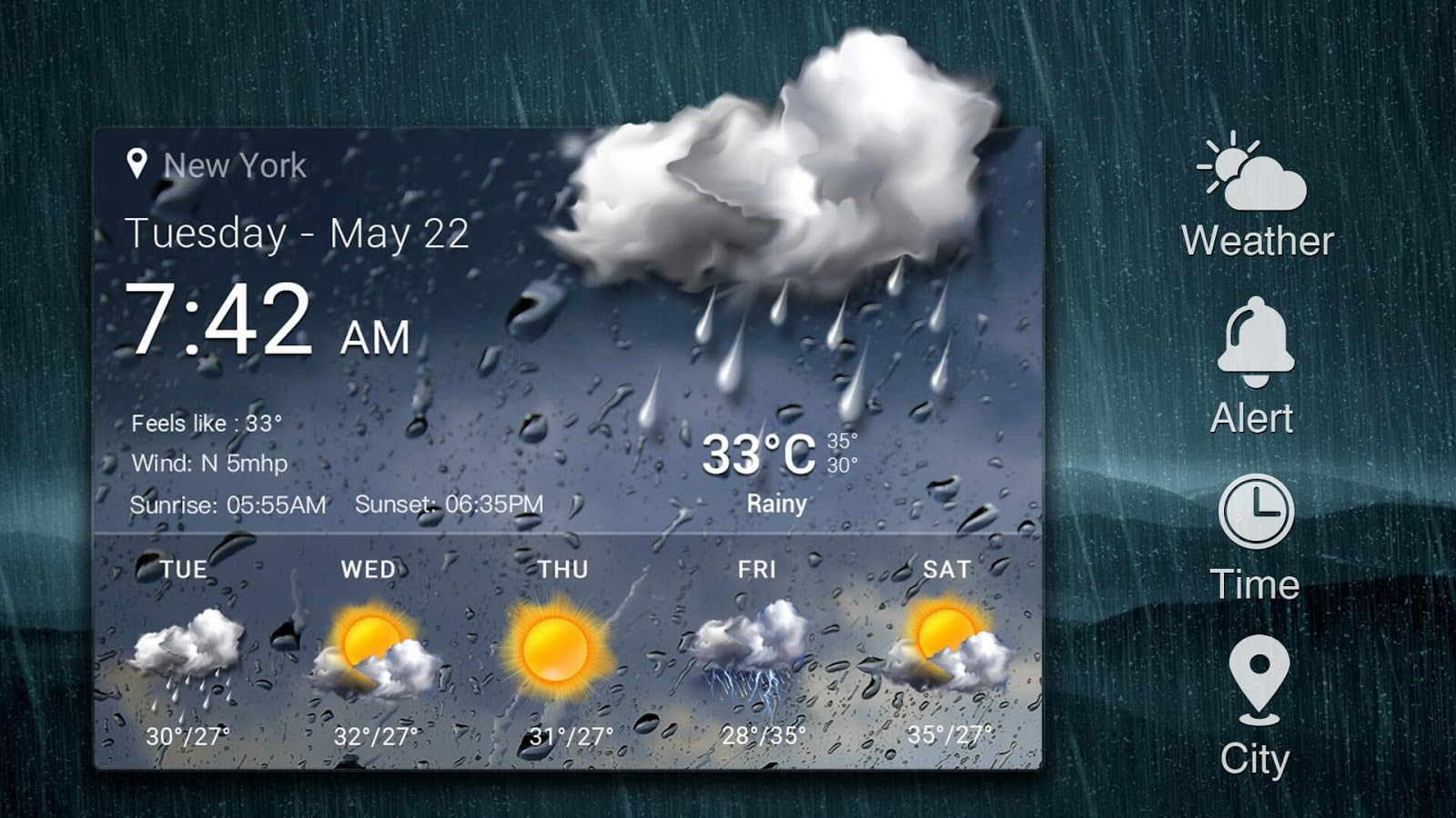 Daily weather forecast widget☂- screenshot