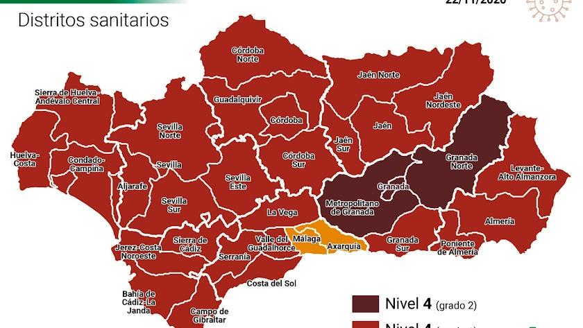Mapa con los municipios andaluces en alerta.