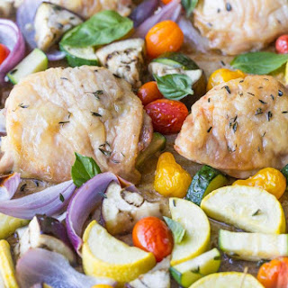 Sheet Pan Paleo Chicken Thighs with Roasted Ratatouille.