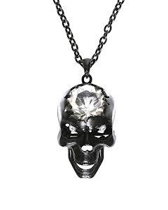 Halsband, dödskalle med kristallpärla