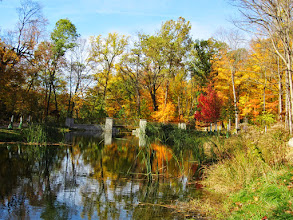 Photo: Bridge over a lake in the beautiful autumn at Hills and Dales Park in Dayton, Ohio.