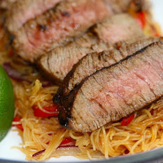 Thai Beef on Chilli and Ginger Noodles.